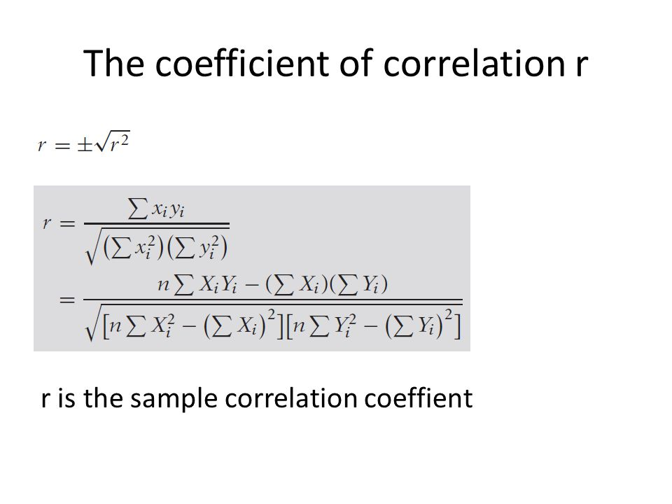The coefficient of correlation r