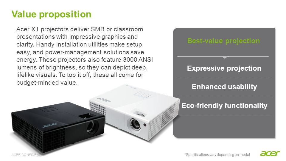 Best-value projection Expressive projection Eco-friendly functionality