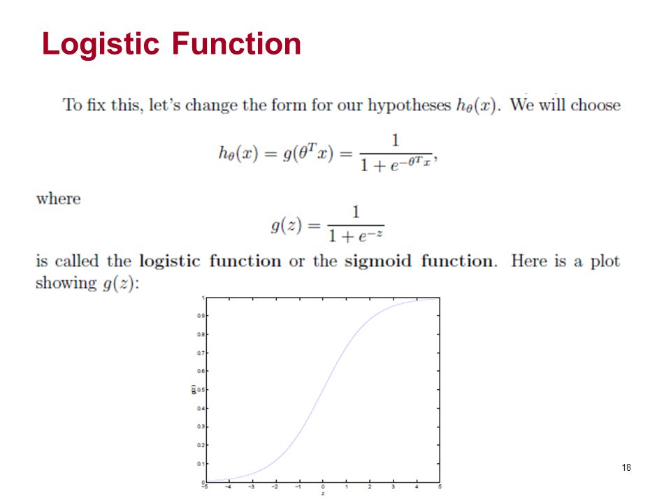 Logistic Function 18 18