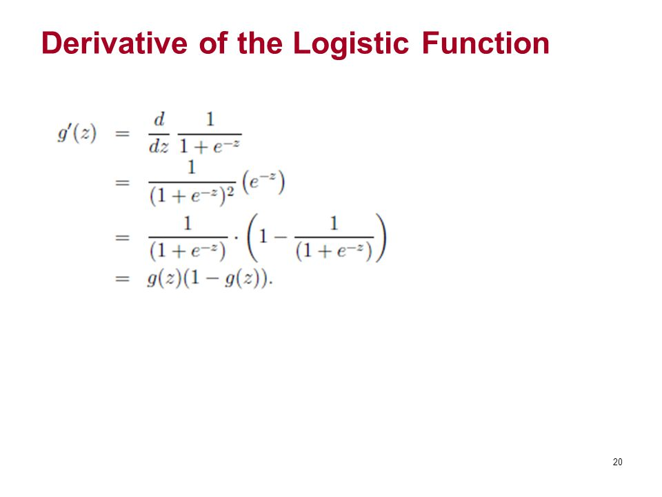Derivative of the Logistic Function