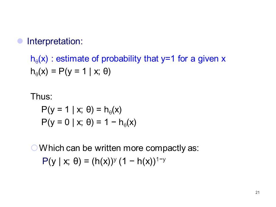P(y | x; θ) = (h(x))y (1 − h(x))1−y