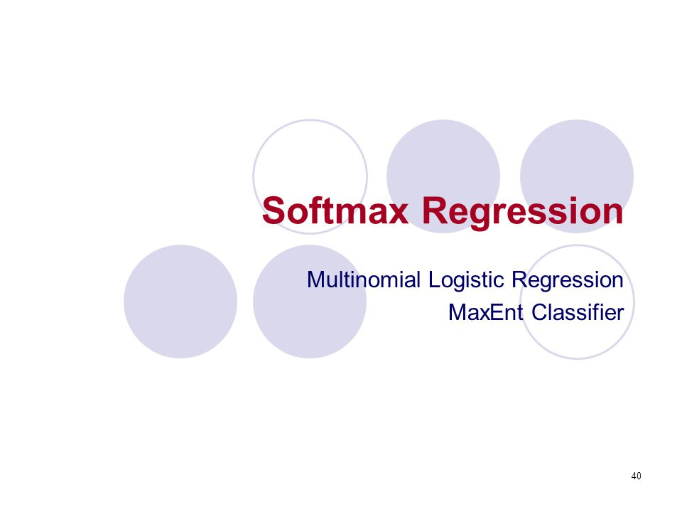 Multinomial Logistic Regression MaxEnt Classifier
