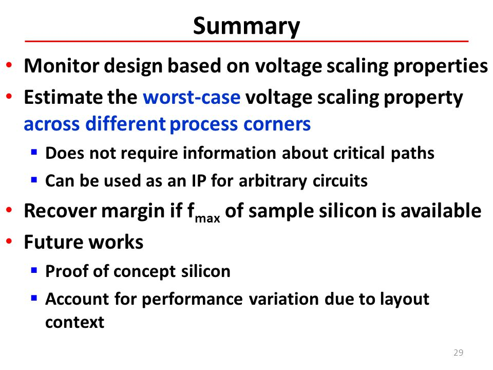 Summary Monitor design based on voltage scaling properties