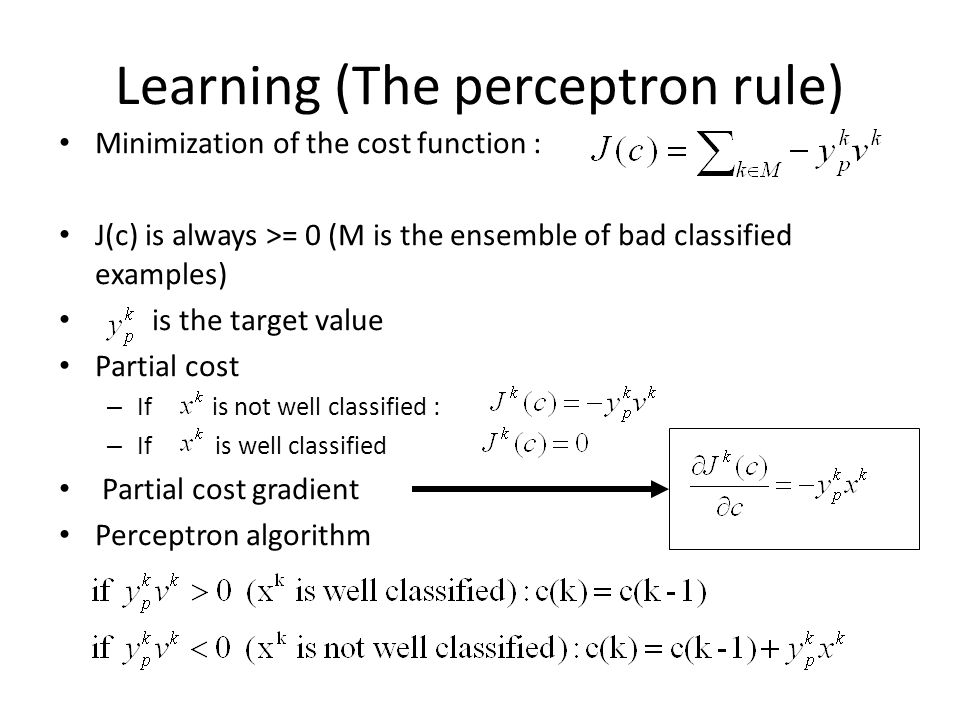 Learning (The perceptron rule)