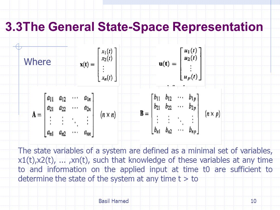 3.3The General State-Space Representation