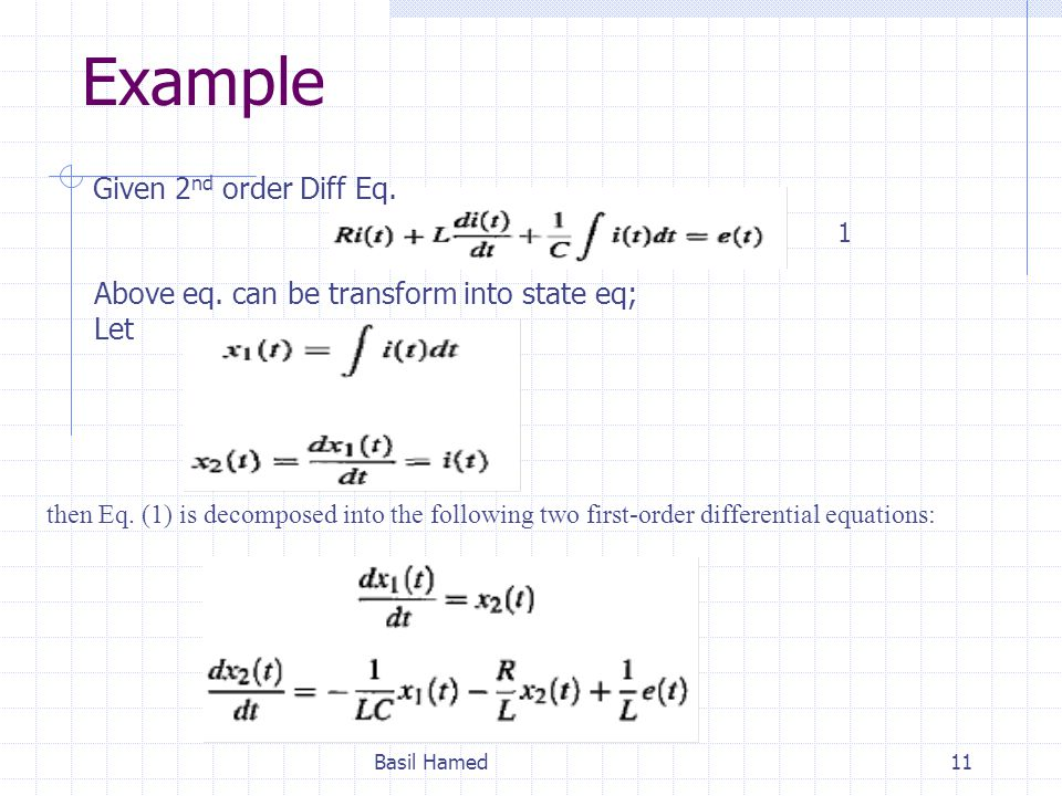Example Given 2nd order Diff Eq.
