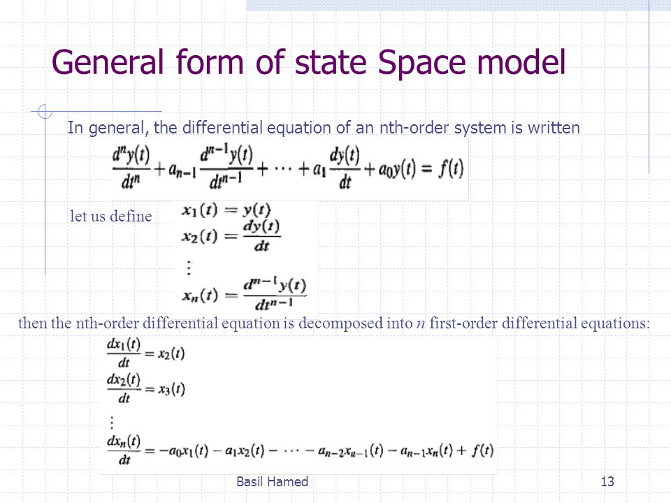 General form of state Space model