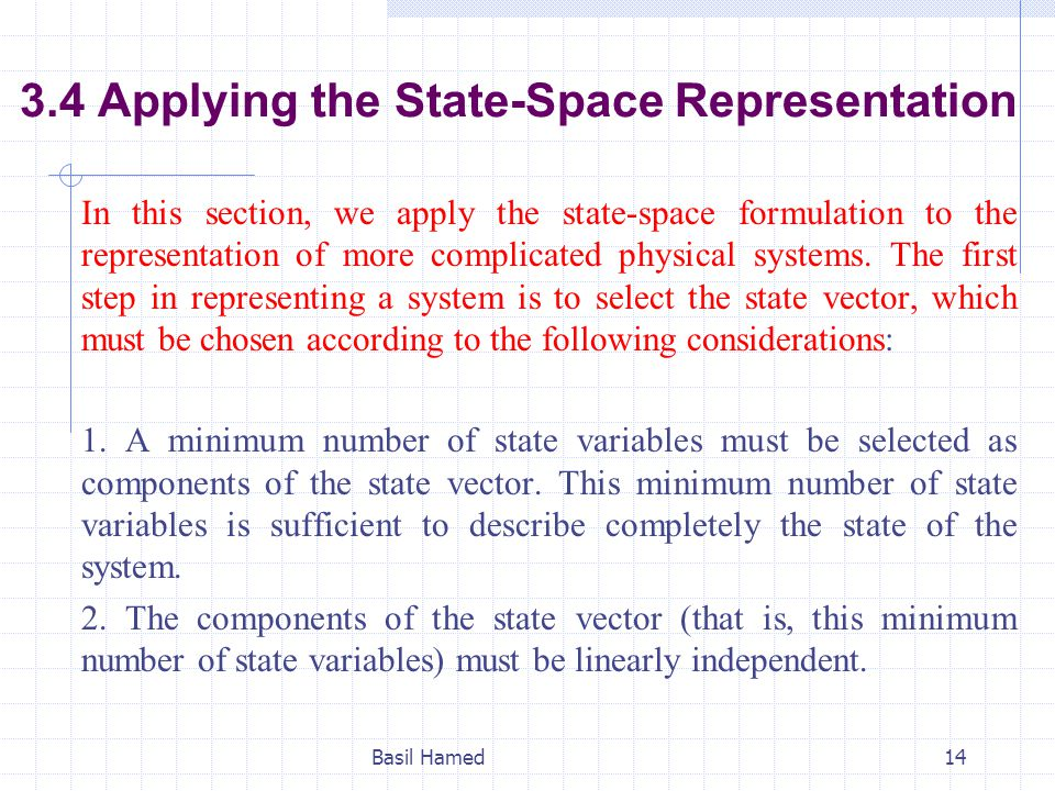3.4 Applying the State-Space Representation