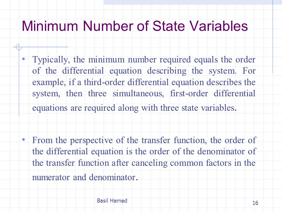Minimum Number of State Variables