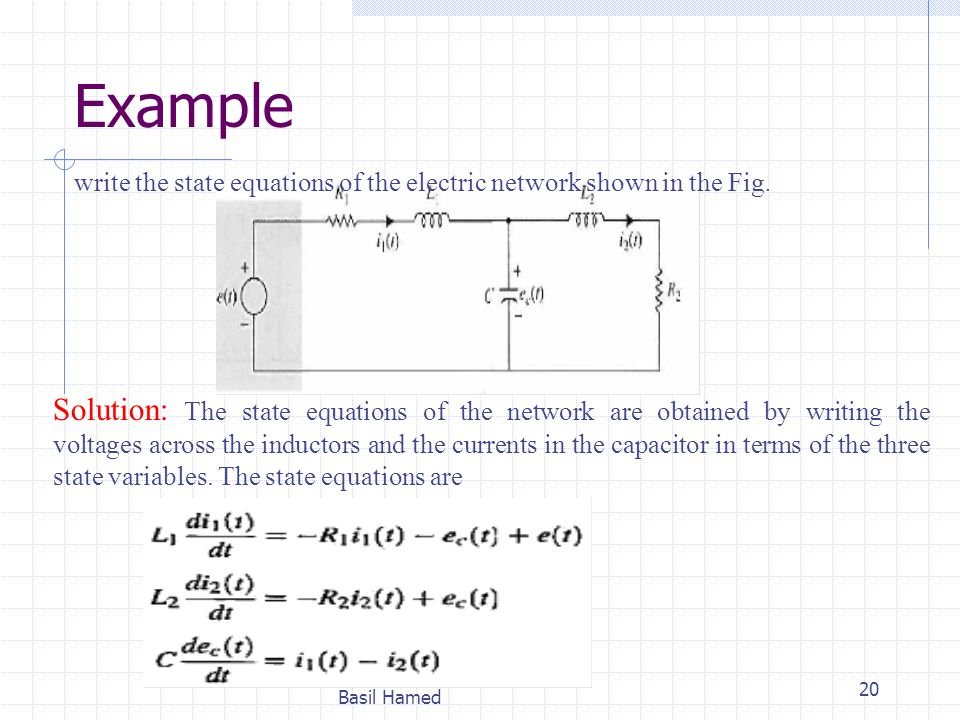 Example write the state equations of the electric network shown in the Fig.