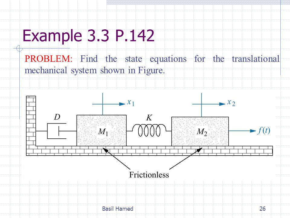 Example 3.3 P.142 PROBLEM: Find the state equations for the translational mechanical system shown in Figure.