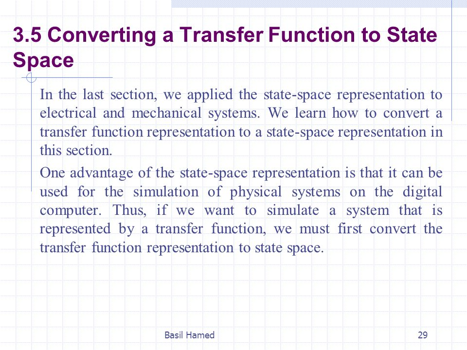 3.5 Converting a Transfer Function to State Space