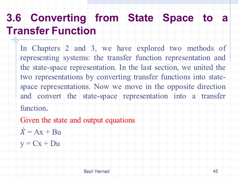 3.6 Converting from State Space to a Transfer Function