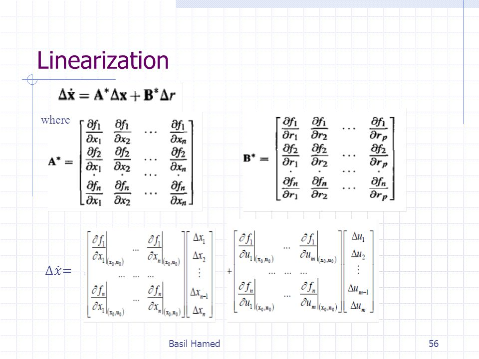 Linearization where ∆ 𝑥 = Basil Hamed