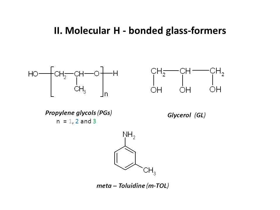 II. Molecular H - bonded glass-formers