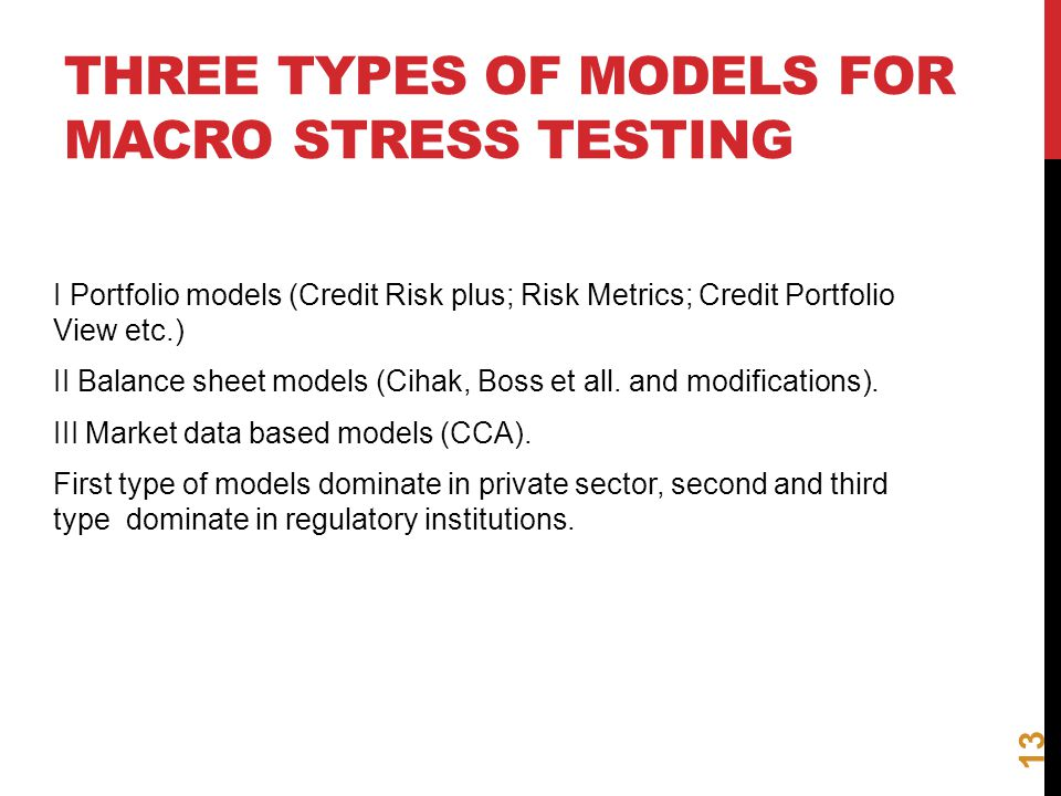 Three types of models for macro stress testing