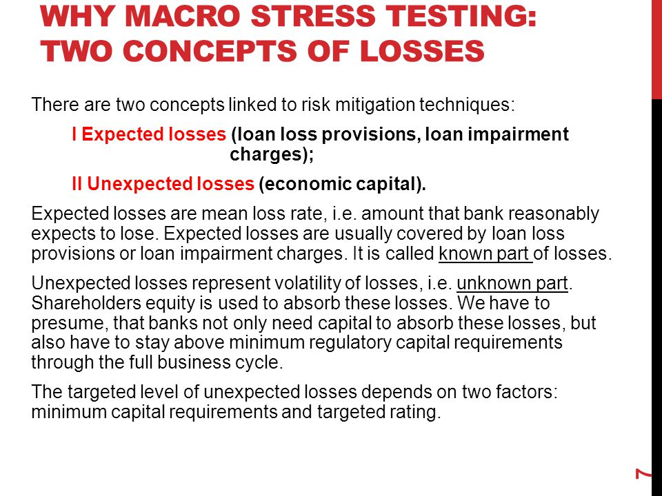 Why macro stress testing: Two concepts of losses