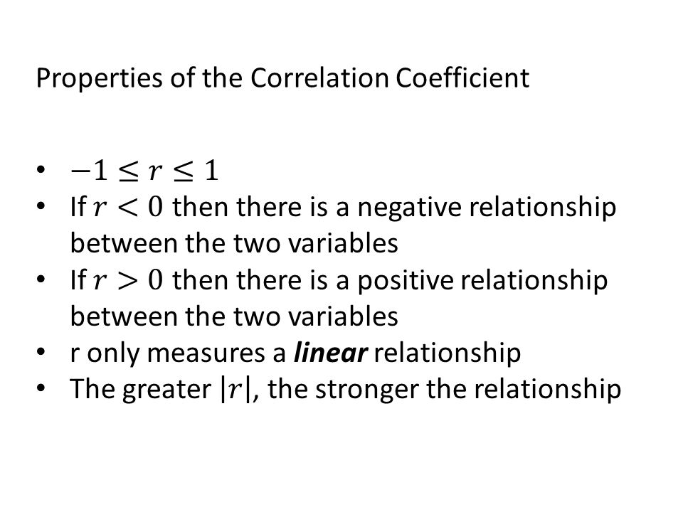 Properties of the Correlation Coefficient