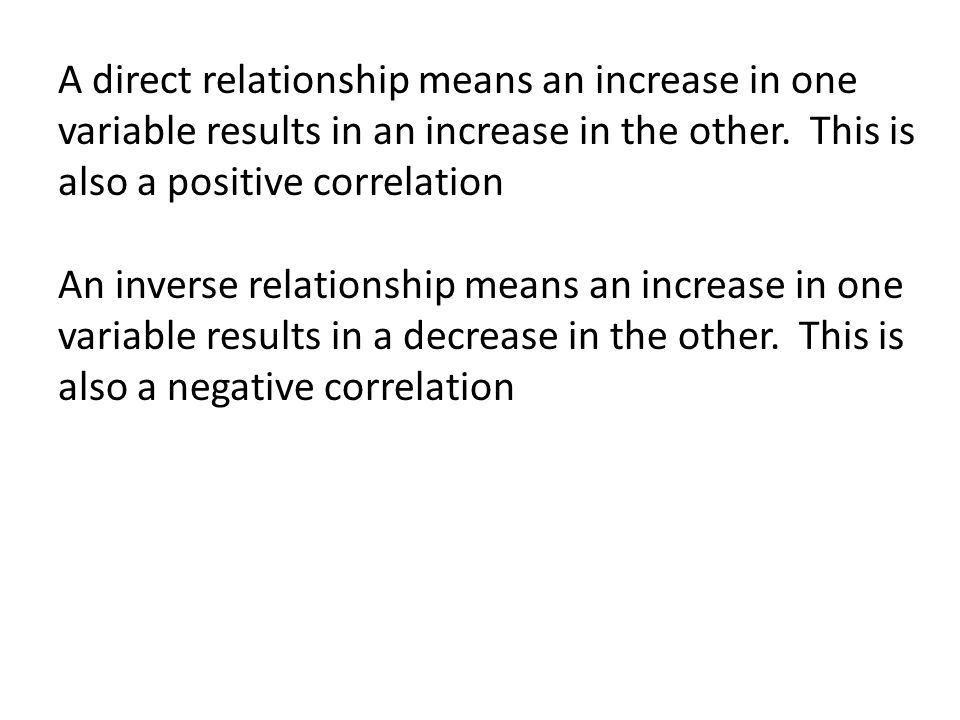 A direct relationship means an increase in one variable results in an increase in the other.