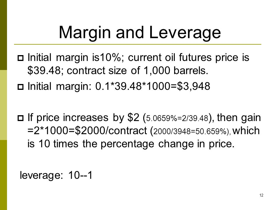 Margin and Leverage Initial margin is10%; current oil futures price is $39.48; contract size of 1,000 barrels.