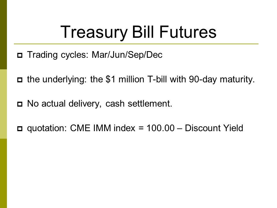 Treasury Bill Futures Trading cycles: Mar/Jun/Sep/Dec