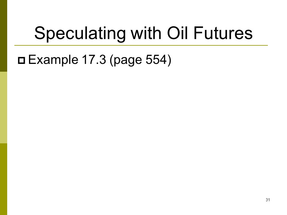 Speculating with Oil Futures