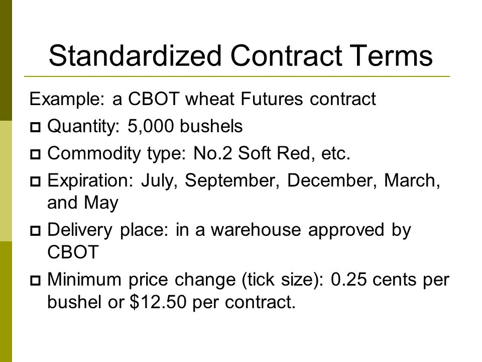 Standardized Contract Terms
