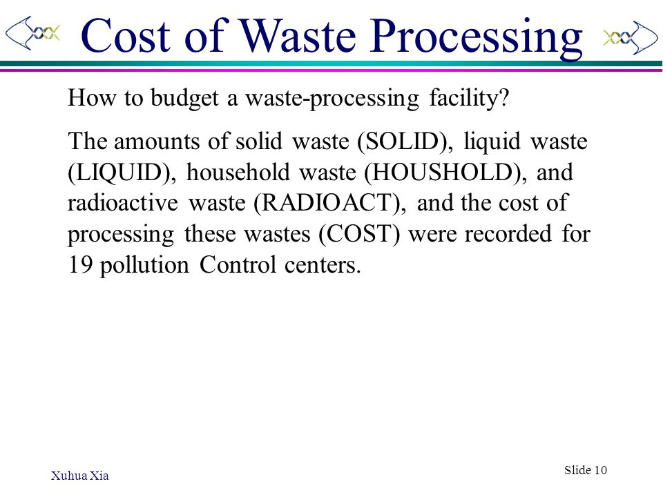 Cost of Waste Processing