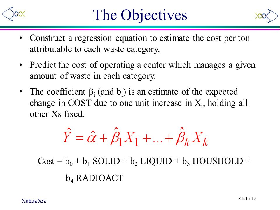 The Objectives Construct a regression equation to estimate the cost per ton attributable to each waste category.