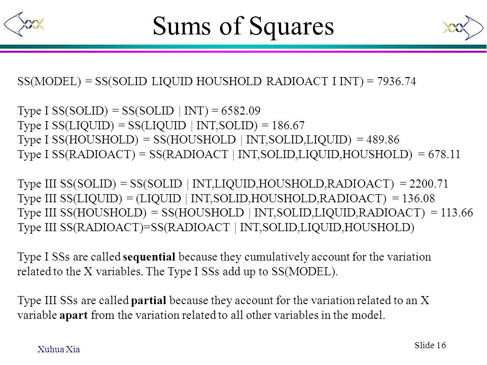 Sums of Squares SS(MODEL) = SS(SOLID LIQUID HOUSHOLD RADIOACT I INT) = 7936.74. Type I SS(SOLID) = SS(SOLID | INT) = 6582.09.