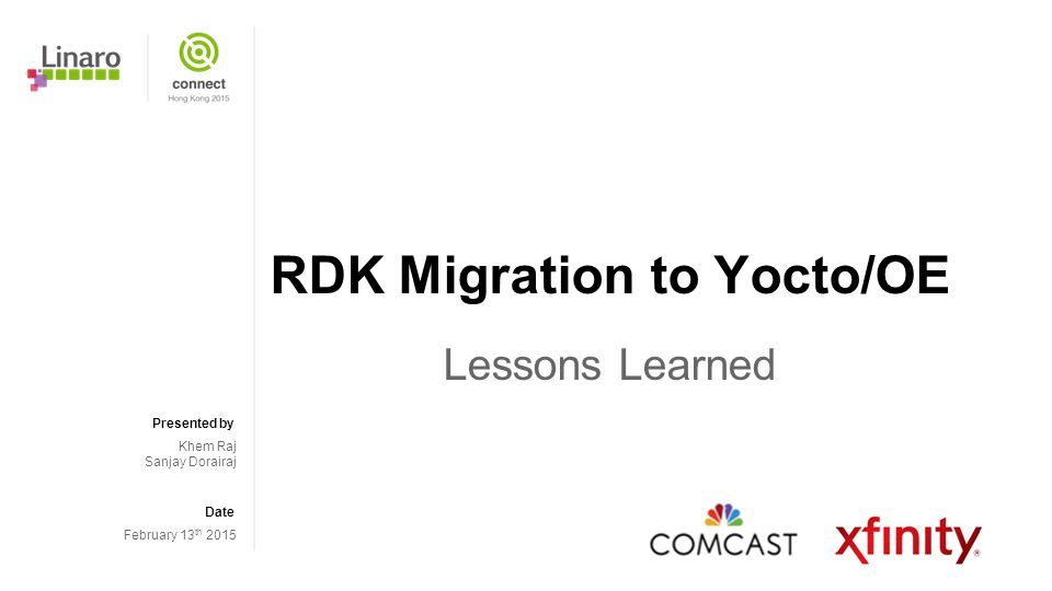 RDK Migration to Yocto/OE