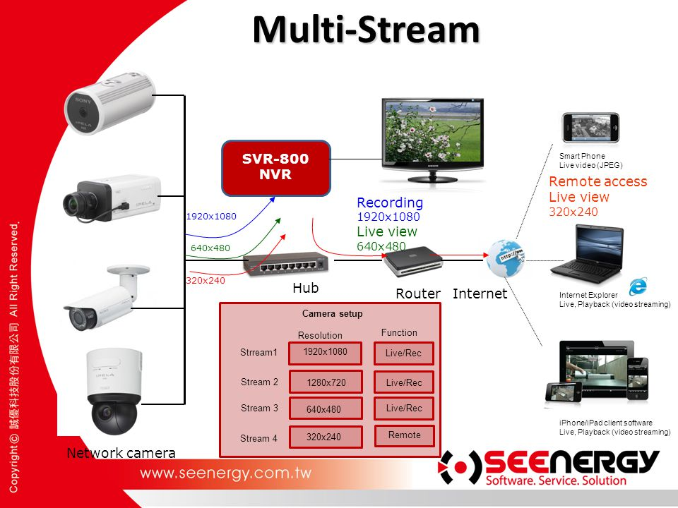 Multi-Stream SVR-800 NVR Remote access Live view Recording Live view