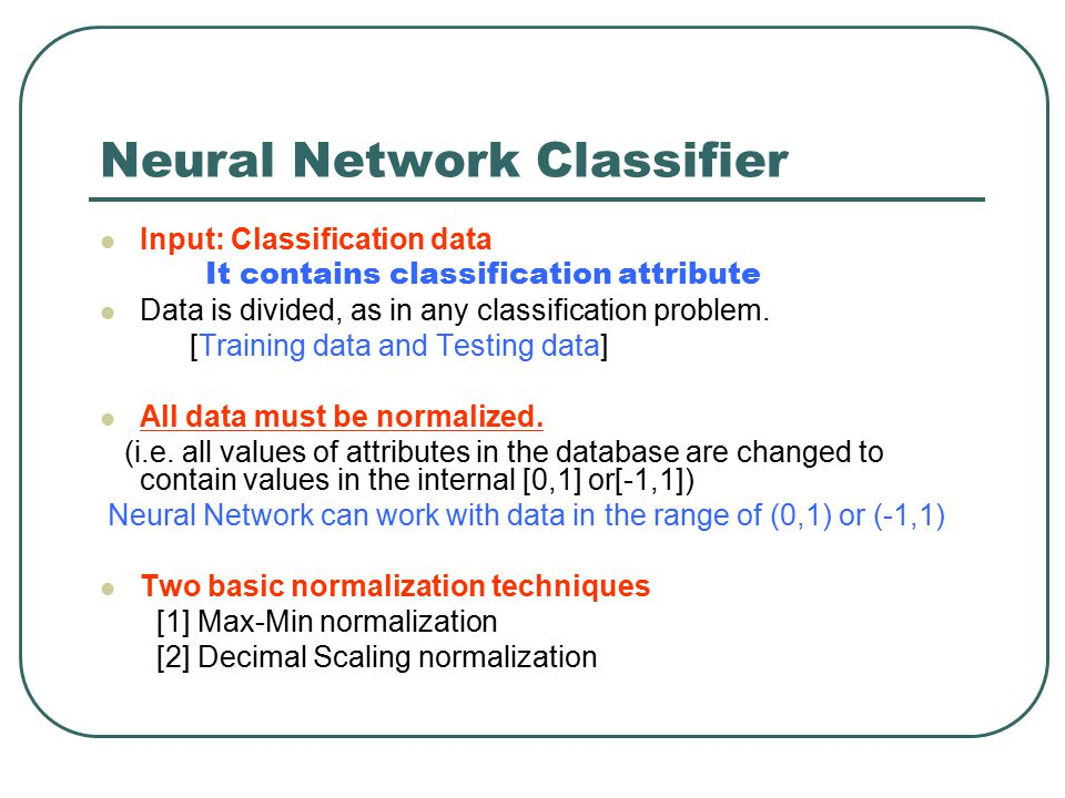 Neural Network Classifier
