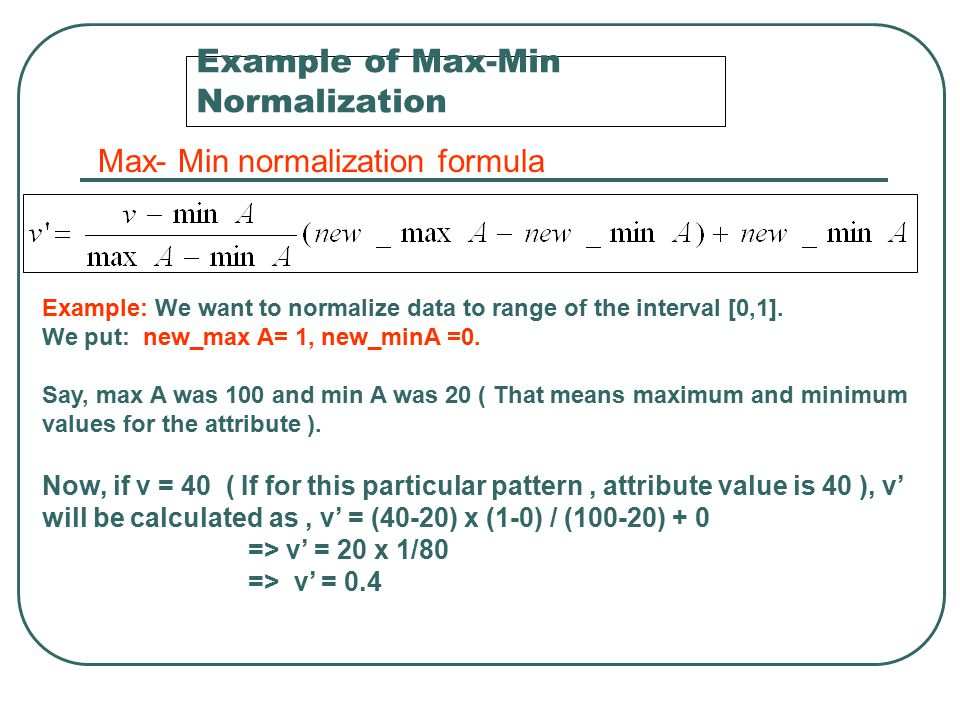 Example of Max-Min Normalization