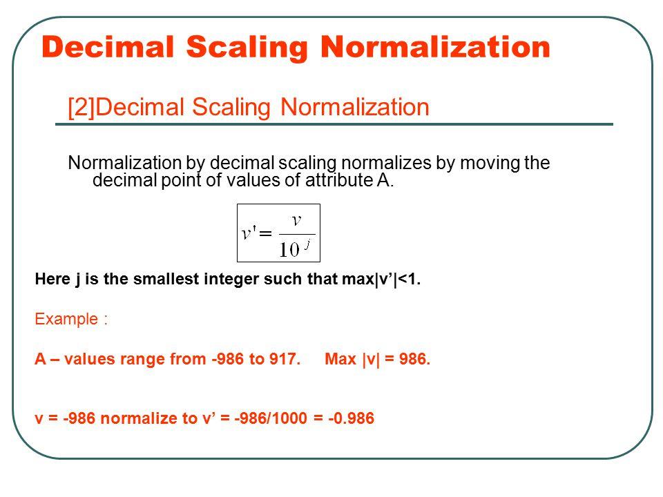 Decimal Scaling Normalization