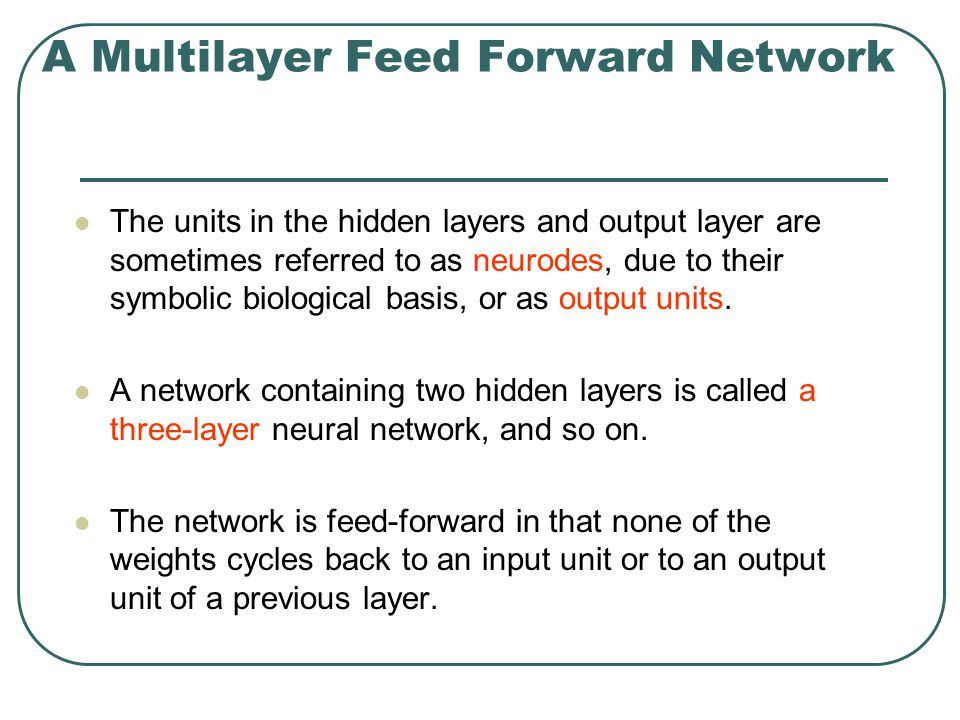A Multilayer Feed Forward Network