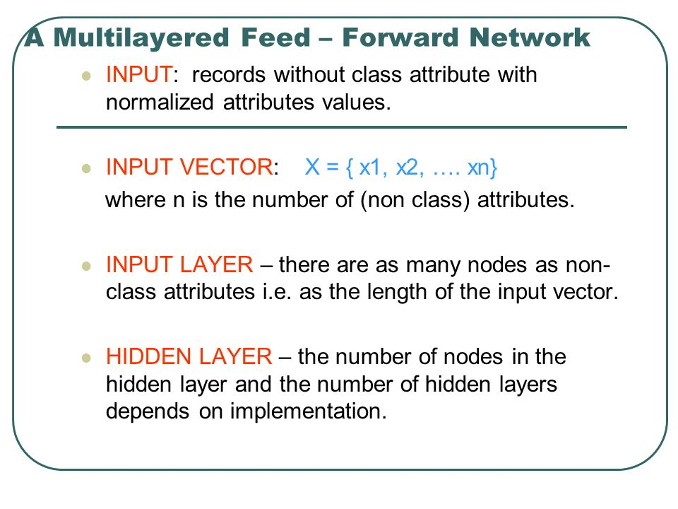 A Multilayered Feed – Forward Network