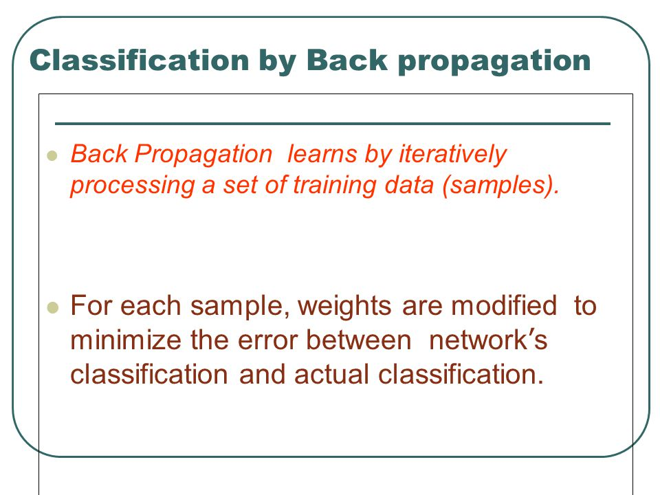 Classification by Back propagation