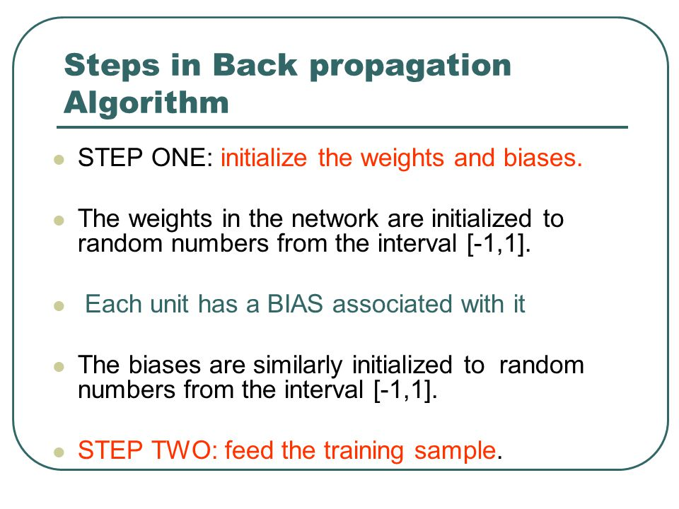 Steps in Back propagation Algorithm