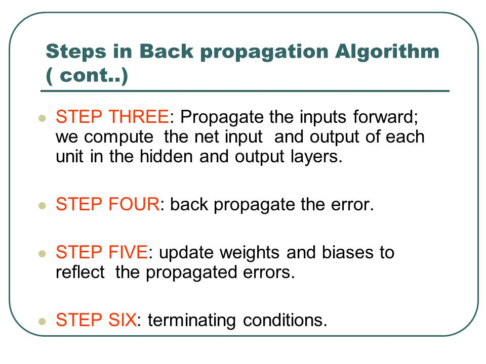 Steps in Back propagation Algorithm ( cont..)