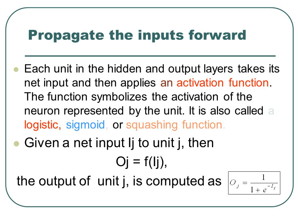 Propagate the inputs forward