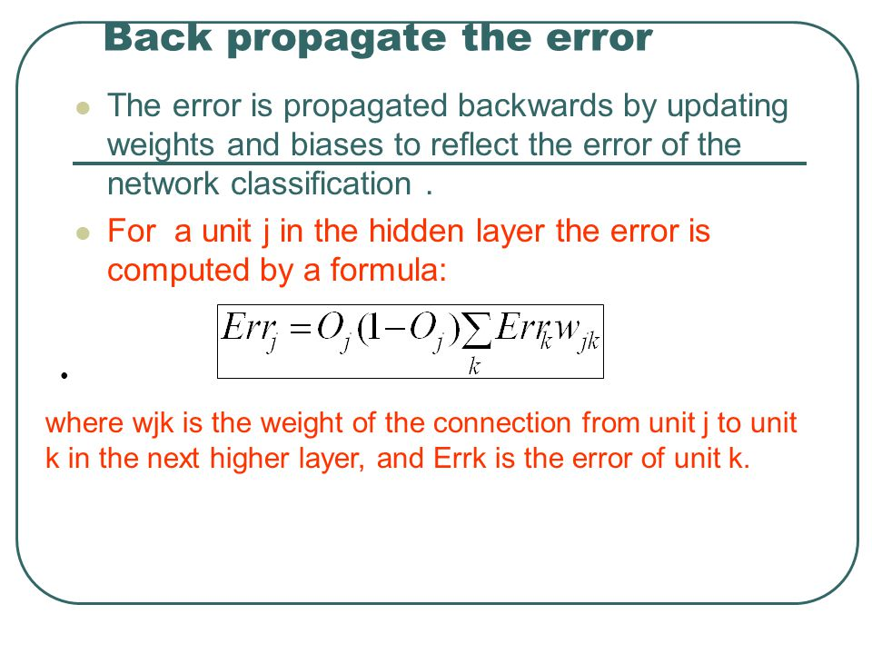 Back propagate the error