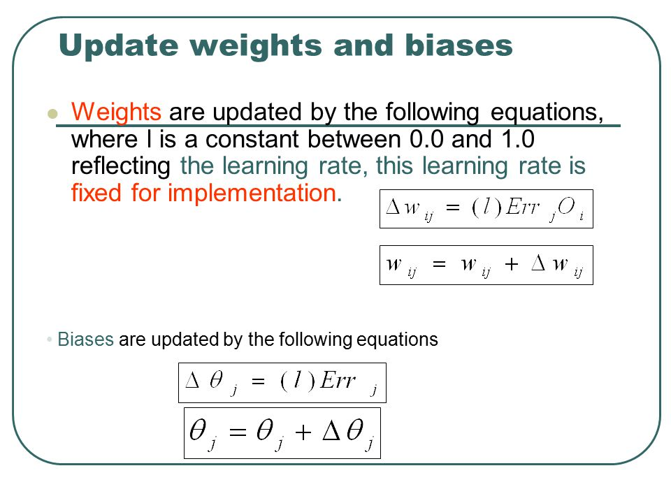 Update weights and biases