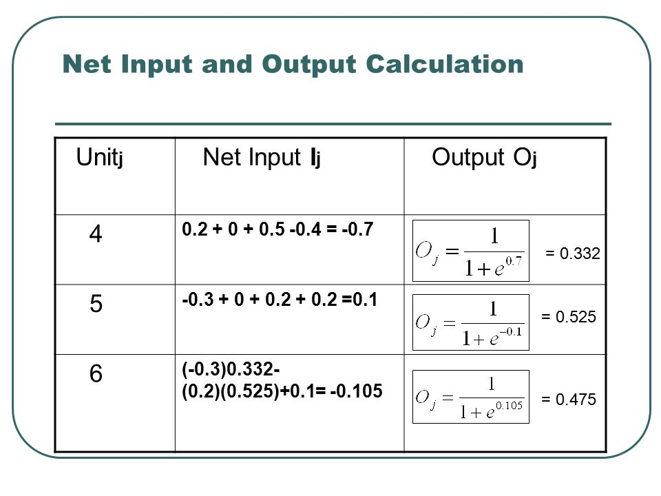 Net Input and Output Calculation