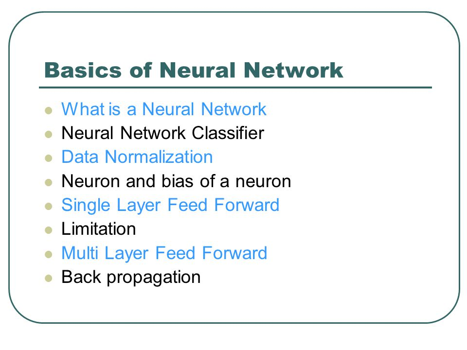 Basics of Neural Network
