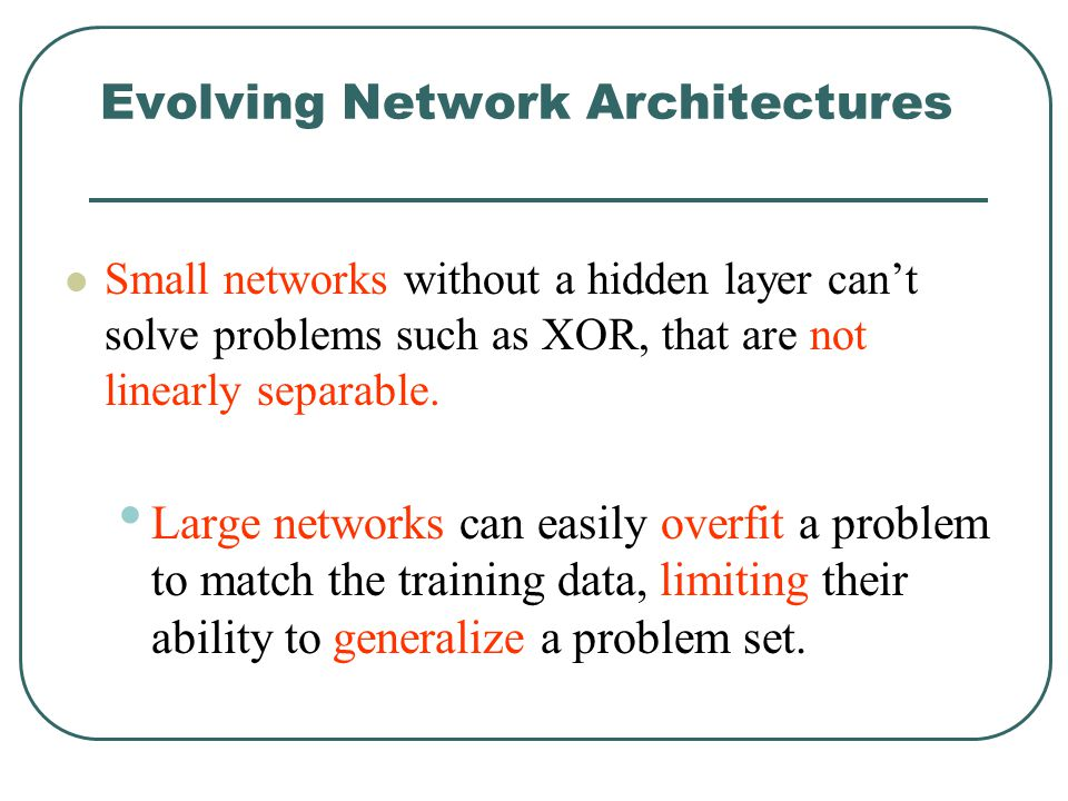 Evolving Network Architectures