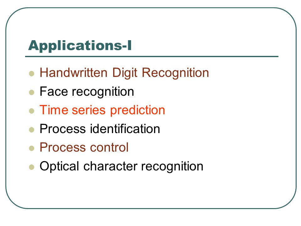 Applications-I Handwritten Digit Recognition Face recognition