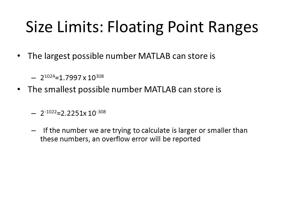 Size Limits: Floating Point Ranges