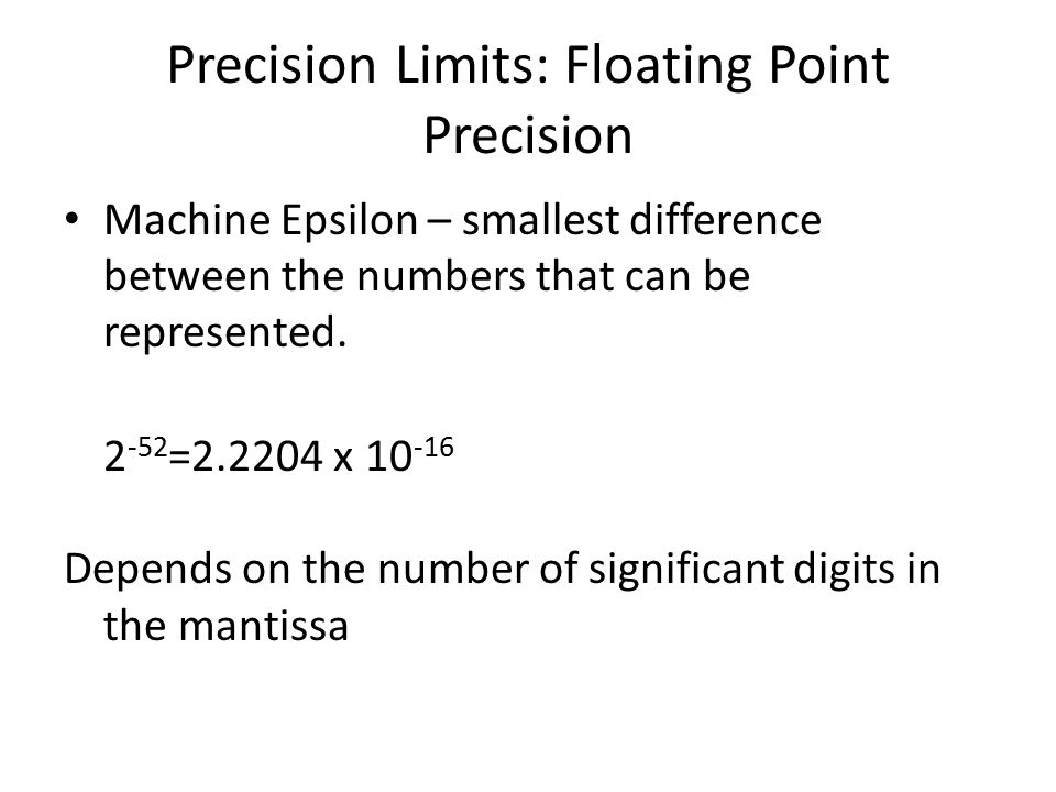 Precision Limits: Floating Point Precision