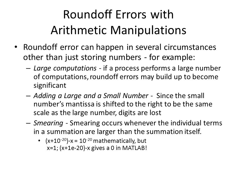 Roundoff Errors with Arithmetic Manipulations